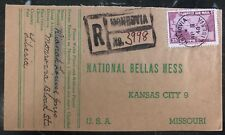 1948 Monrovia Liberia Commercial cover to National Bella's Hess Kansas City USA
