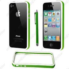 Housse Coque Etui Bumper Vert / Blanc Apple iPhone 4S 4 + Stylet
