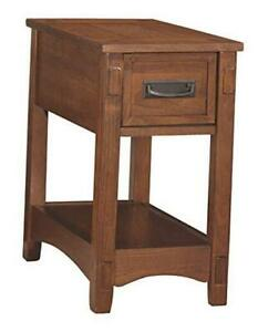 Breegin New Traditional Wooden Chair Side End Table with 1 Drawer and 1 Brown