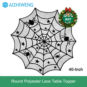 Halloween Party Decoration 40-Inch Black Spider Lace Table Topper Cloth