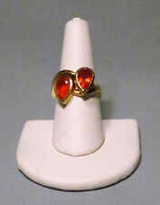 Vintage 18K Yellow Gold Pear Shape Mexican Orange Fire Opal Ring - Gorgeous!