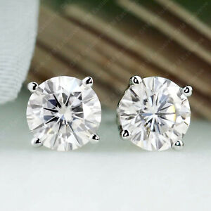 2.00 TCW Round Cut DVVS1 Moissanite Stud Earrings In 14k White Gold Plated