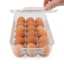 Diamond Home Fridge Bin Egg Storage Holder Container With Lid Holds 18 Eggs