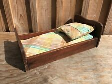 Old Bed Doll Wood Full/complete with Mattress and Pillow in Good Condition