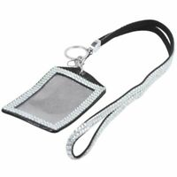 Rhinestone Bling Crystal Custom Lanyard Vertical ID Badge Holder (Silver) N4C7