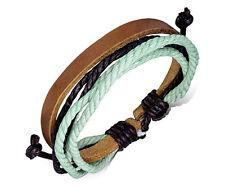 Unisex Leather Rope Bracelets Wrap Adjustable Bangle Fashion Neon Wristband