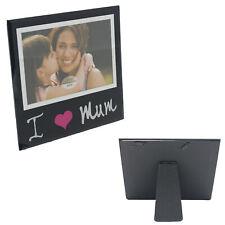 Black Glass 6'x4' Photo Frame with Wording - I Love Mum