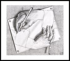 MC Escher Zeichnen Poster Kunstdruck mit Alu Rahmen in schwarz 55x65cm
