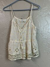 Abercrombie & Fitch A&F cream gold embroidered cami tank top women's Size XS