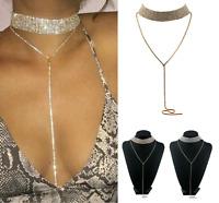 Women Fashion Jewelry Pendant Chain Choker Chunky Statement Bib Collar Necklace