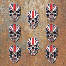 SKULL UNION JACK LAMINATED STICKERS x8 60x39mm UK Car Motorbike Triumph Helmet
