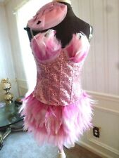 NEW MYSTERY HOUSE SEXY SEQUIN PINK FLAMINGO FLAPPER CORSET COSTUME OUTFIT LARGE