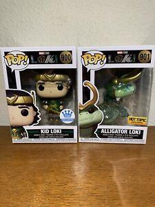 2 Marvel Funko Pop Hot Topic Alligator Loki 901 & Funko Exclusive Kid Loki 900