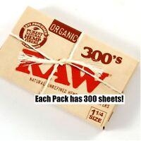 RAW 300 Count Pack 1 1/4 Organic Hemp All natural Vegan Cigarette Rolling Papers
