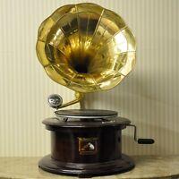 Replica Gramophone Player 78 rpm Round phonograph Brass Horn HMV Vintage Wind up