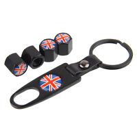 Black Car Wheel Tire Valve Stem Air Caps plugs Keychain Union Jack Logo B264