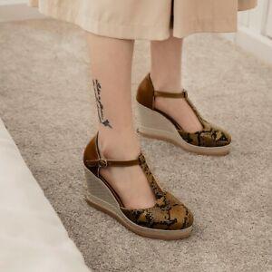 Women Wedge High Heels Ankle Strap Sansals Pump Round Toe Casual Snakeprint Shoe