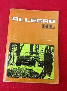 Austin Allegro HL Owners Handbook - 1976