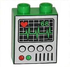 LEGO® Duplo Stein bedruckt Motiv EKG Monitor Herzlinie Bildschirm 4624301 NEU