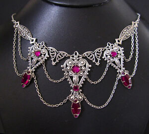 Gothic Victorian Renaissance Medieval Choker Necklace Silver Goth Bridal Jewelry