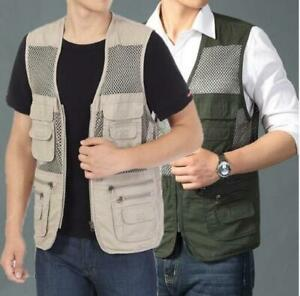 2021 Men's Vest Multi Pocket Camera Outdoor Travelers Fishing Working Waistcoat