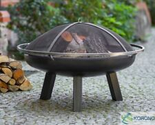 Korono Fire Bowl with 3 High Legs, Ring and Spark Arrester, 60cm, Handmade