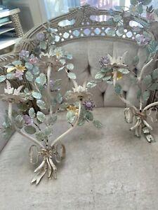 PR Shabby Vintage Italian Chic Wall Sconces Porcelain Flowers Pastel Delicate