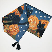 "Halloween Fun Pumpkins & Black Cats by Full Moon Sky 72"" Tapestry Table Runner"
