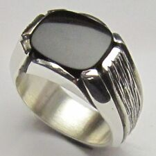 MJG STERLING SILVER MEN'S RING. 12 X 14 mm ANTIQUE CUSHION BLACK ONYX. SZ 10