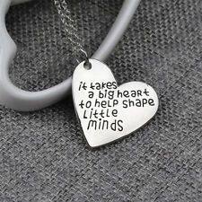 Love Heart Pendants Teachers Charms Jewelry Silver Tone Chain Necklace Gifts