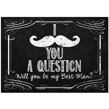 Be my Best Man moustache chalk wine beer bottle label sticker UK FREE POST