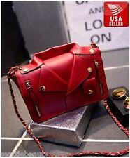Women's red stylish fashionable motorcycle jacket faux leather bag handbag purse