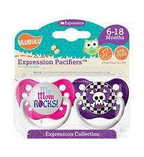 Ulubulu Pacifier Collection - Girls - My Mom Rocks! & Skull - 6-18 months Binky