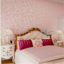 10M Embossed Damask Rose Pattern Flocked Non-woven Wallpaper Roll Modern 3Colors