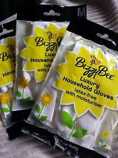 Bizzybee Gloves x 6 Luxury Latex-Free (M size 8) Washing Up Kitchen Household