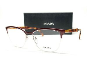 PRADA VPR 53V 263-1O1 Top Bordeaux Silver Demo Lens Women's Eyeglasses 55mm