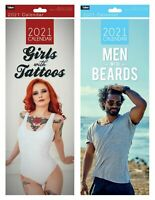 2021 Slim Month To View Spiral Bound Wall Calendar Men with Beard-Girls Tattoos