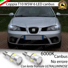 COPPIA LUCI DI POSIZIONE T10 W5W 6 LED SEAT IBIZA 6L CANBUS 6000K NO ERRORE