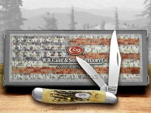 Case xx Peanut Knife Genuine Sambar Stag Handle Stainless Pocket Knives 00048