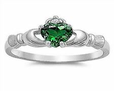 Claddagh Ring Sterling Silver 925 Emerald & Clear CZ Cubic Zirconia