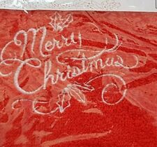 Christmas Embroidered 100% Cotton Face Cloth / Flannel -  Merry Christmas