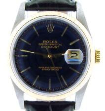 Mens Rolex Datejust 2Tone 18K Gold & Stainless Steel Watch Black Dark Blue 16233