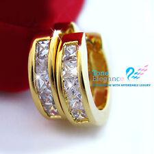 9k 9ct gold GF hoop solid women men earrings w/ swarovski Elements crystal