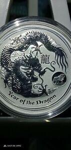 2012 AUSTRALIAN LUNAR Year of the DRAGON WITH LION PRIVY 1oz SILVER bullion COIN