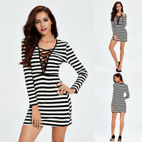 Fashion Women Long Sleeve Bandage Deep V-Neck Striped Slim Bodycon Mini Dress