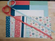 """Stampin Up BY THE SHORE 6 X 6"""" Paper Card Kit Ribbon Starfish Waves Beach"""