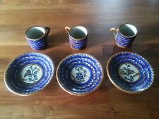3 Handmade Espresso Cups and Saucers Blue and Brown Signed B Nex.