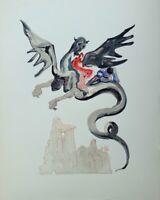 DALI Salvador : ENFER 17 - BOIS GRAVE original  #1960-1963 #DIVINE COMEDIE