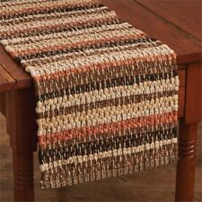 Gather Together Table Runner 13x54 Cotton Chindi Tan Brown Pumpkin Orange