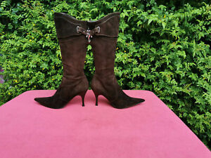 Karen Millen Brown Suede Leather High Heeled Boots UK 5 EU 38